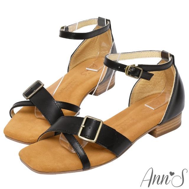【Ann'S】水洗牛皮-顯瘦V口交叉古銅釦木紋跟方頭涼拖鞋(黑)