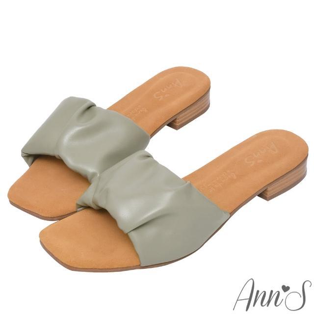 【Ann'S】水洗牛皮-軟澎澎抓皺木紋跟方頭涼拖鞋(綠)