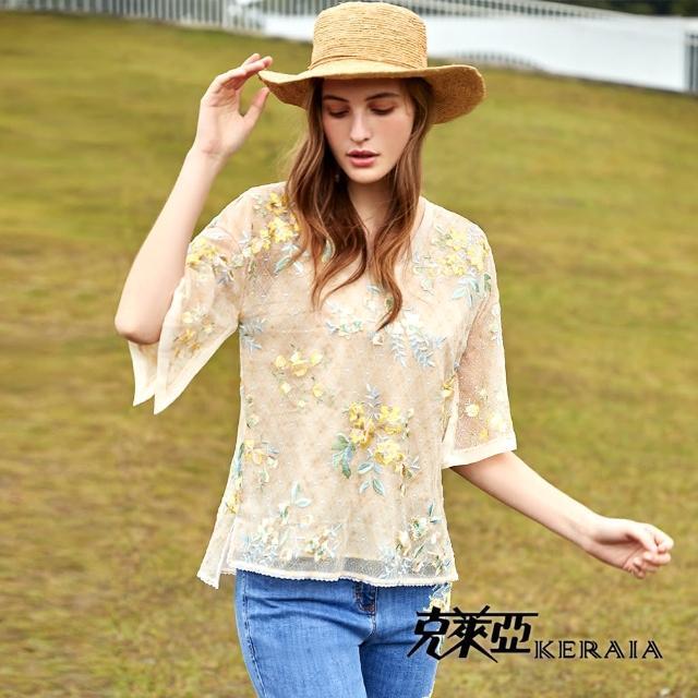 【KERAIA 克萊亞】空中花園蕾絲繡花上衣