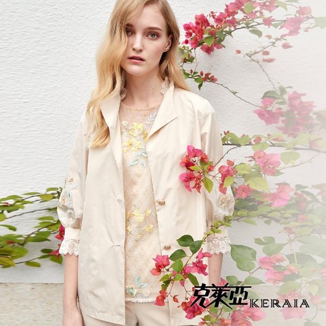 【KERAIA 克萊亞】空中花園蕾絲荷葉袖上衣