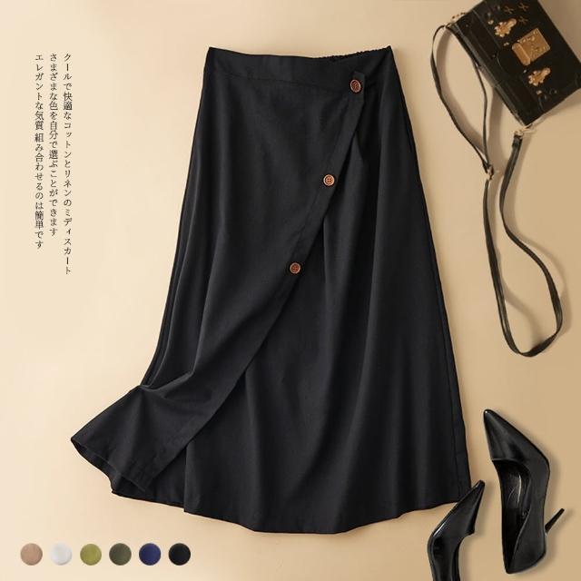 【Pure 衣櫃】涼感舒適棉麻鬆緊一片裙設計中長裙(簡約/文青/百搭/KDS-7326)