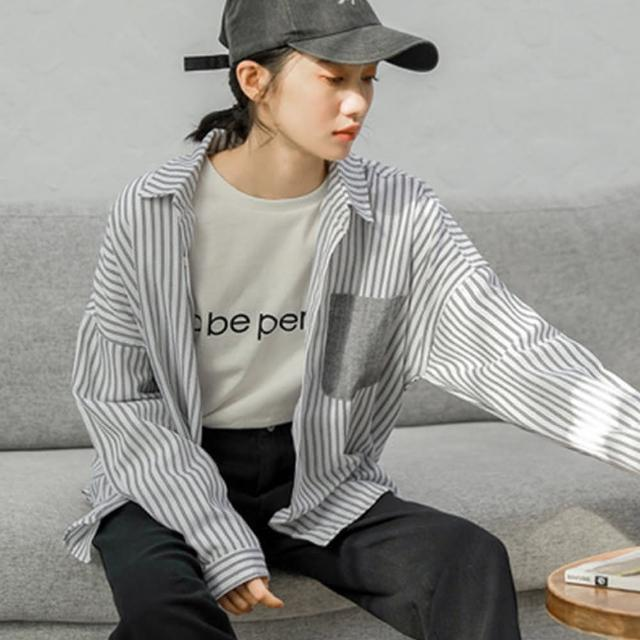 【Pure 衣櫃】韓版拼接條紋設計感長袖襯衫(率性/風格/百搭/KDT-5277)