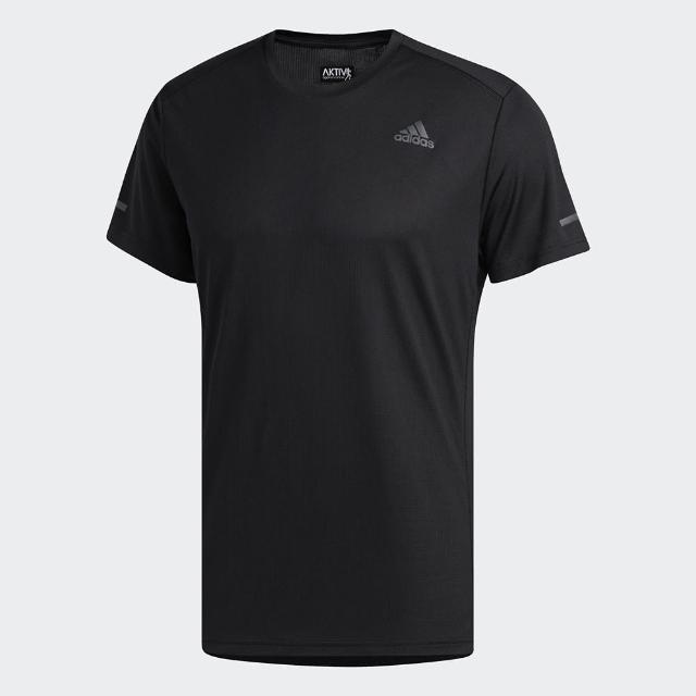 【adidas 愛迪達】上衣 男款 運動 健身 慢跑 短袖上衣 黑 FL6972