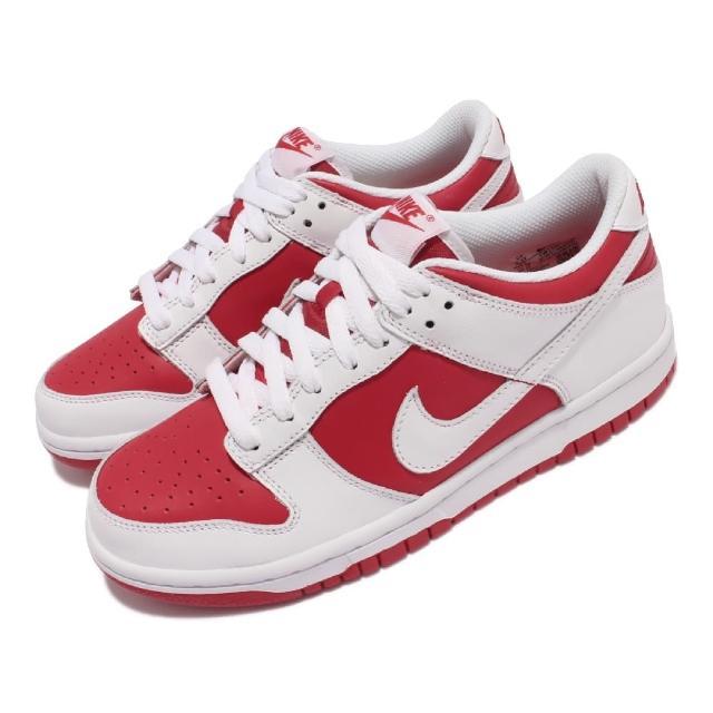 【NIKE 耐吉】休閒鞋 Dunk Low GS 運動 女鞋 經典款 大童 皮革 大學紅 休閒穿搭 白 紅(CW1590-600)