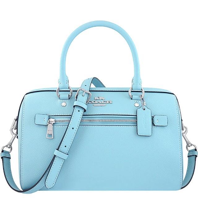 【COACH】防刮皮革手提/斜背兩用包-天空藍色(買就送璀璨水晶觸控筆)
