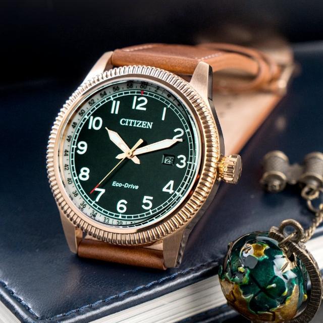 【CITIZEN 星辰】父親節推薦款 雅仕經典光動能真皮腕錶/咖啡x綠面(BM7483-15X)
