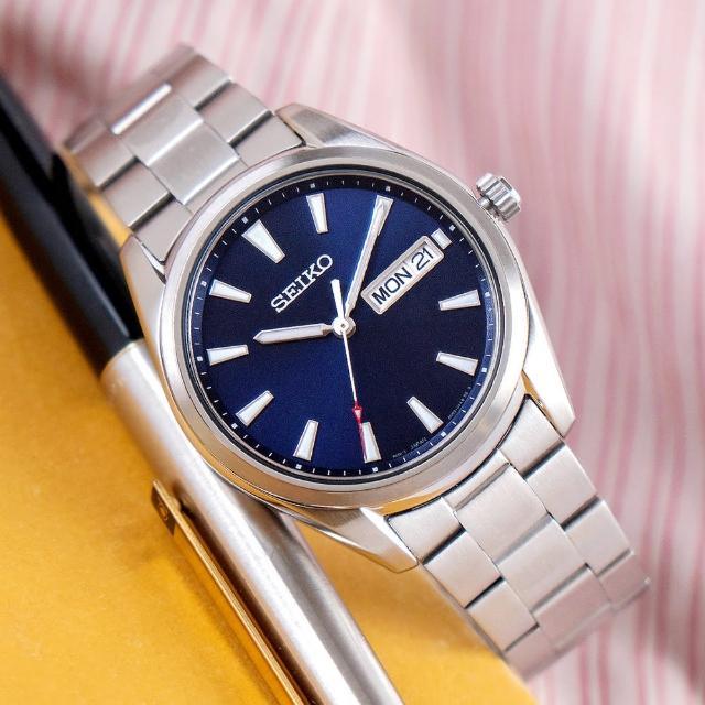 【SEIKO 精工】CS系列 紳士經典藍寶石不鏽鋼腕錶/銀x藍面 男錶(SUR341P1_M)