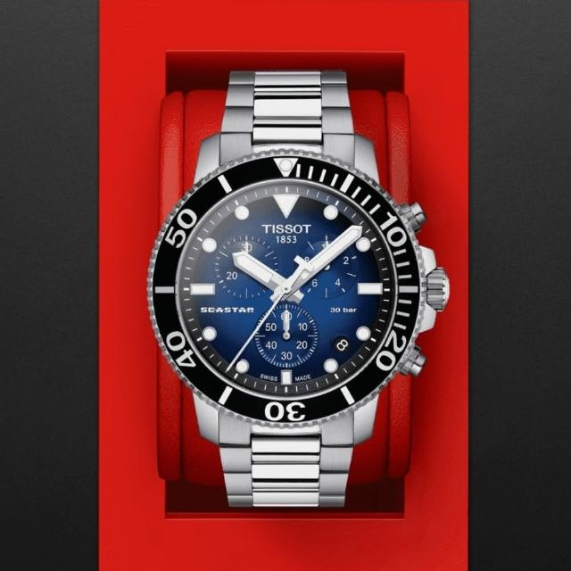 【TISSOT 天梭】SEASTAR1000海星系列 300m 漸層藍潛水計時腕錶 / 45.5mm(T1204171104101)