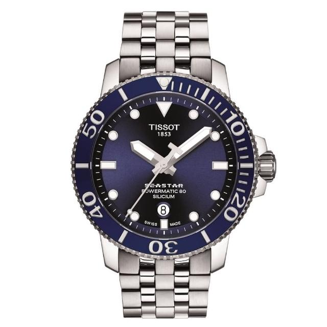 【TISSOT 天梭】SEASTAR1000海星系列 300m 矽游絲潛水機械腕錶 / 45.5mm(T1204071104101)