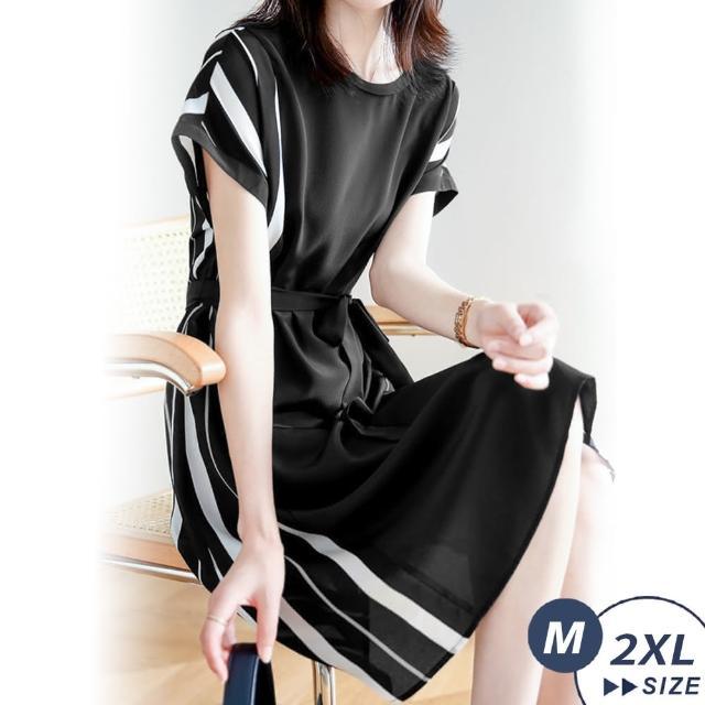 【LANNI 藍尼】現+預 奢華輕熟風顯瘦條紋綁帶洋裝(圓領/連身裙/約會/通勤/上班)