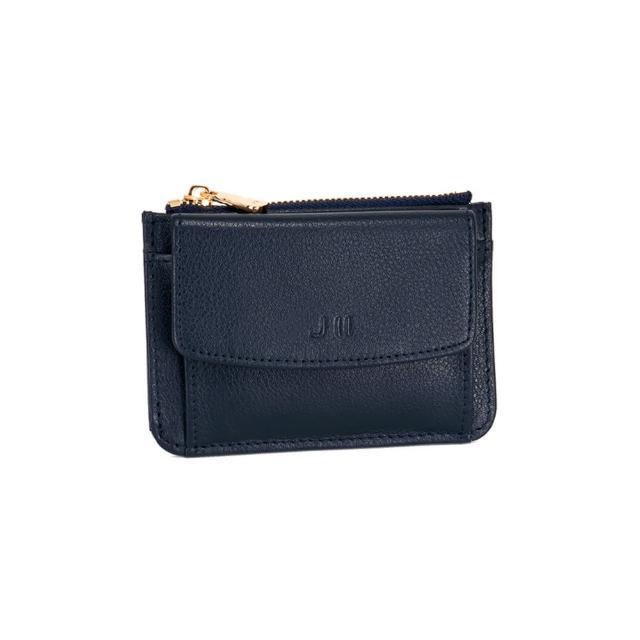 【J II】零錢包-口袋牛皮卡片零錢包-深藍色-3102-3(零錢包)