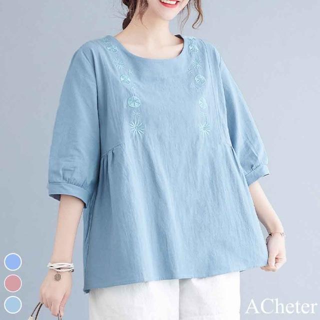 【ACheter】花仙子刺繡寬鬆棉麻上衣#110132現貨+預購(3色)
