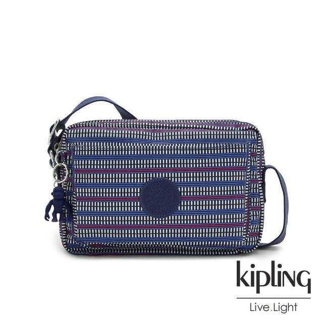 【KIPLING】圖騰拼接印花多層隨身斜背包-ABANU M