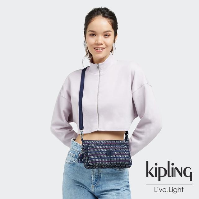 【KIPLING】圖騰拼接印花前袋拉鍊長形肩背包-MYRTE
