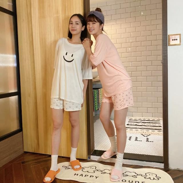 【PizzaCutFive】帶著好心情入睡/微笑印花上衣加短褲兩件組/睡衣套裝-白(居家必備:好眠睡衣)