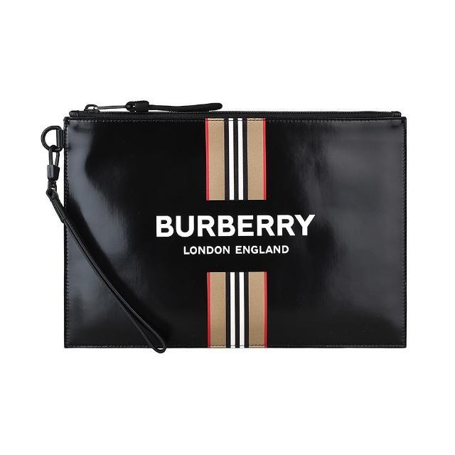 【BURBERRY 巴寶莉】BURBERRY白字LOGO滑面帆布條紋印花設計手拿包(黑)