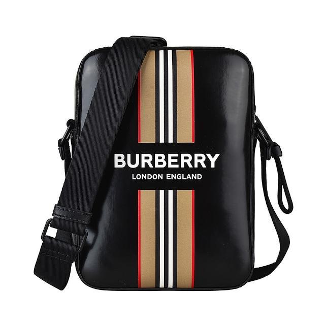 【BURBERRY 巴寶莉】BURBERRY白字LOGO滑面帆布條紋印花設計拉鍊斜背包(黑)