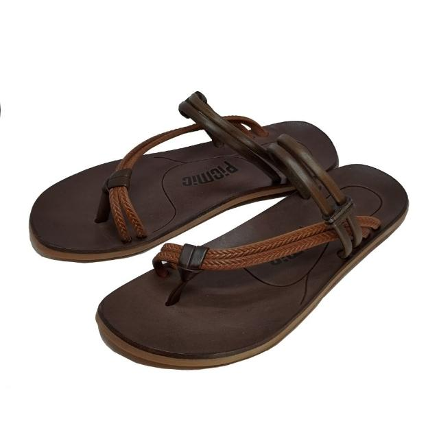 【皮克米】手工壓紋皮繩 平底夾腳涼鞋(涼拖兩穿)