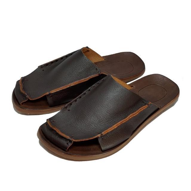 【皮克米】護趾平底拖鞋(真皮)