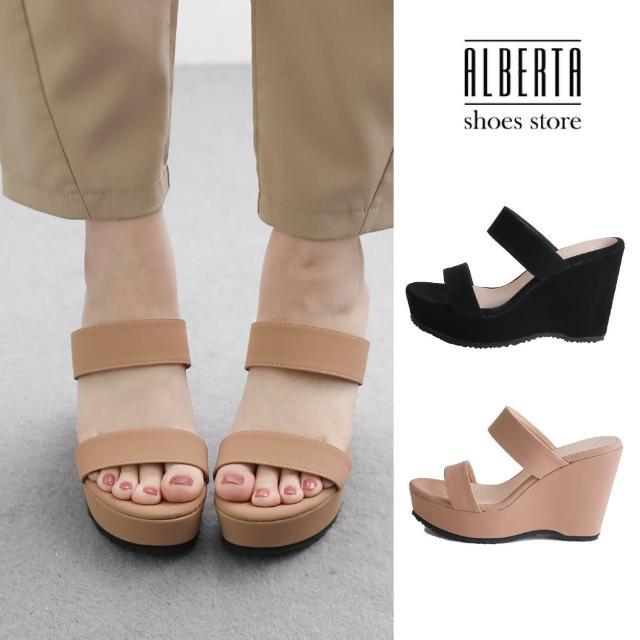 【Alberta】MIT台灣製 前4後10cm拖鞋 優雅氣質一字寬帶 絨面楔型厚底圓頭涼拖鞋