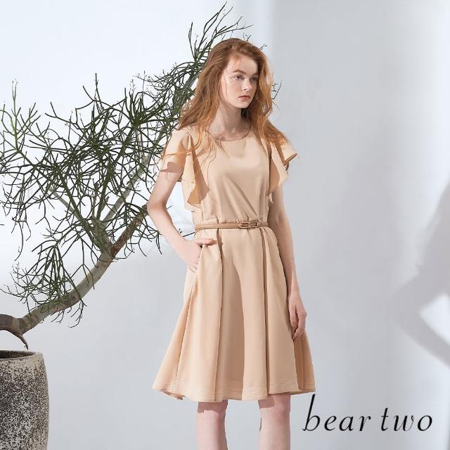 【bear two】浪漫荷葉露肩袖洋裝(兩色)