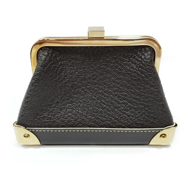 【Louis Vuitton 路易威登】經典素面皮革金色夾釦小零錢包(黑色)