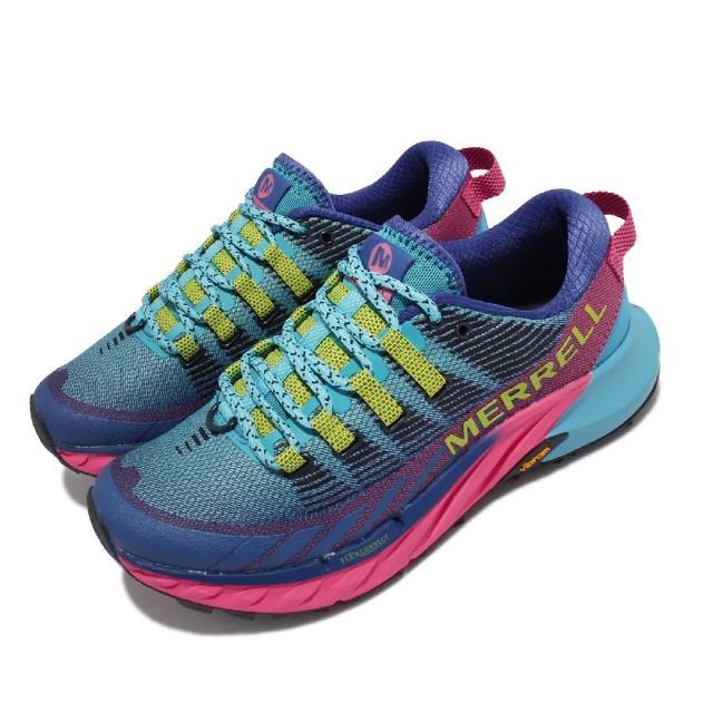 【MERRELL】慢跑鞋 Agility Peak 4 女鞋 彈性 支撐 回彈 耐磨 黃金大底 藍 粉(ML135112)