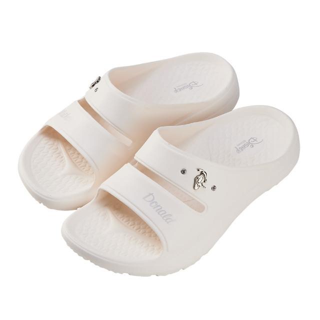 【Disney 迪士尼】迪士尼女鞋 米奇與唐老鴨 運動風輕量防水厚底拖鞋-白(MIT台灣在地工廠製造)
