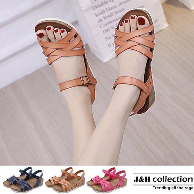 【J&H collection】雙交叉羅馬厚底坡跟涼鞋(現+預 藍色 / 粉色 / 梅紅色)