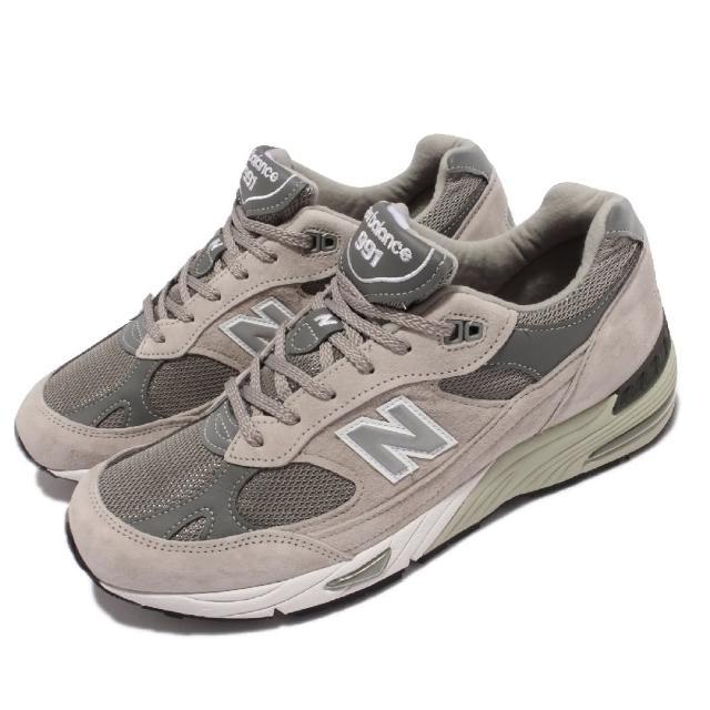 【NEW BALANCE】休閒鞋 991 復古慢跑鞋 英國製 男鞋 紐巴倫 反光 麂皮 網布 異材質 穿搭 灰 白(M991GL-D)