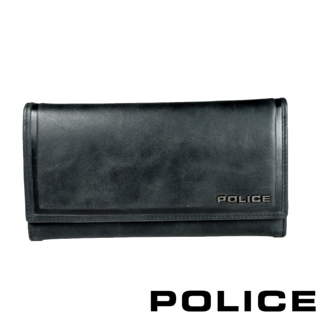 【POLICE】義大利潮牌 頂級小牛皮鈕扣翻蓋長夾(復古系列)