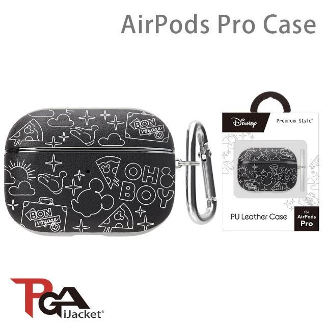 【iJacket】迪士尼 AirPods Pro 箔押皮革 質感保護殼(米奇黑)