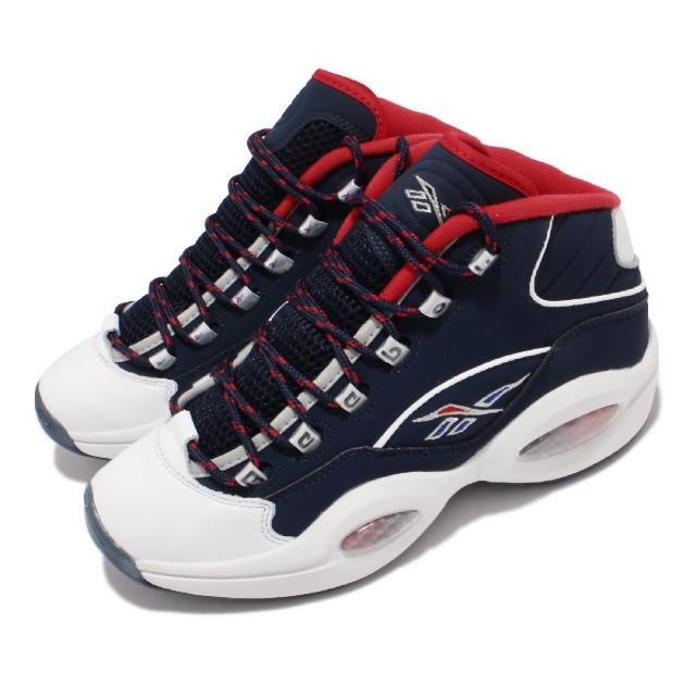 【REEBOK】籃球鞋 Question Mid 運動 男鞋 美國隊配色 艾佛森 避震 包覆 球鞋 藍 紅(H01281)