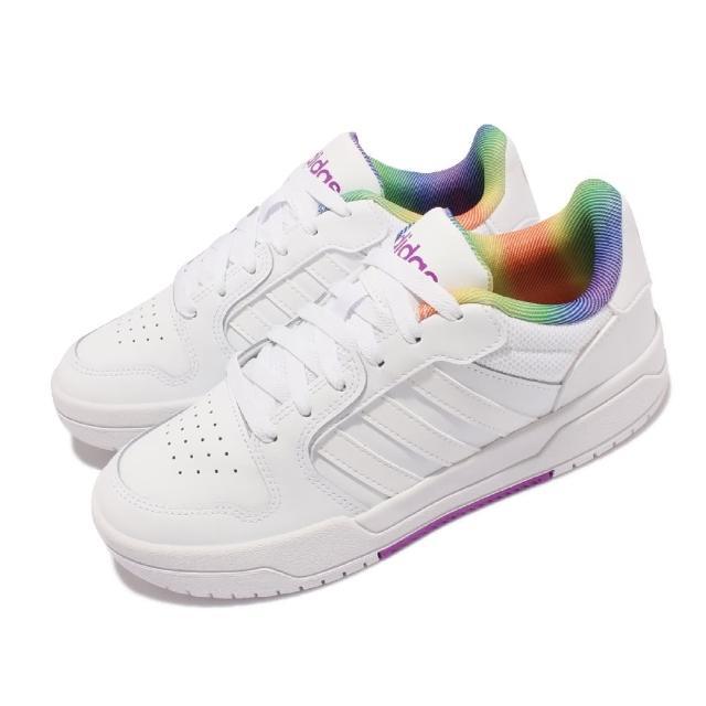 【adidas 愛迪達】休閒鞋 Entrap 低筒 運動 女鞋 愛迪達 Pride系列 皮革 休閒穿搭 白 彩(H01052)