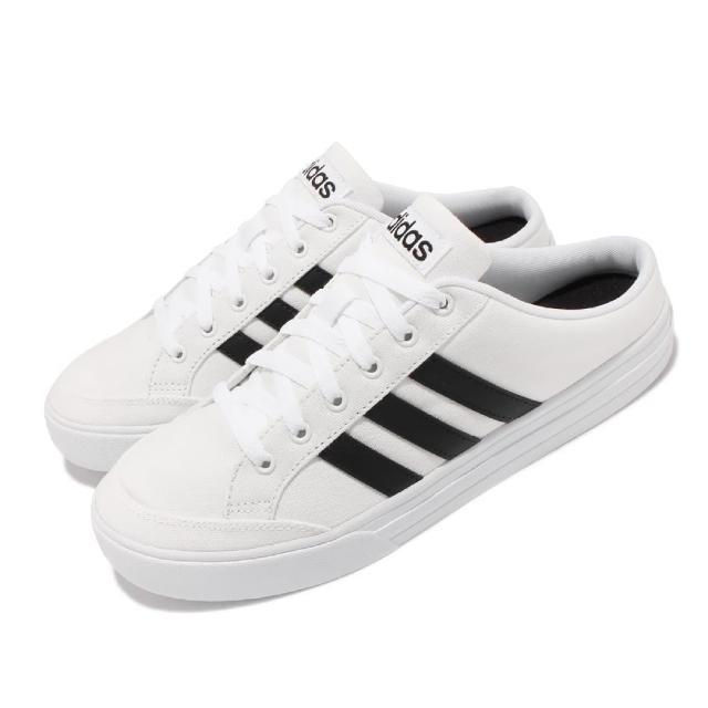 【adidas 愛迪達】休閒鞋 VS Set Mule 套腳 穿搭 男鞋 愛迪達 半包拖鞋 輕便 帆布 球鞋 白 黑(FX4849)