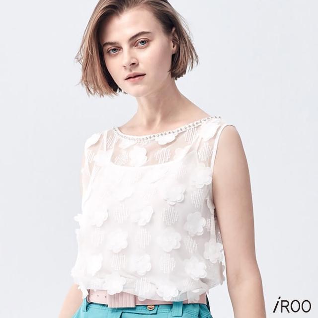 【iROO】花朵網紗背心