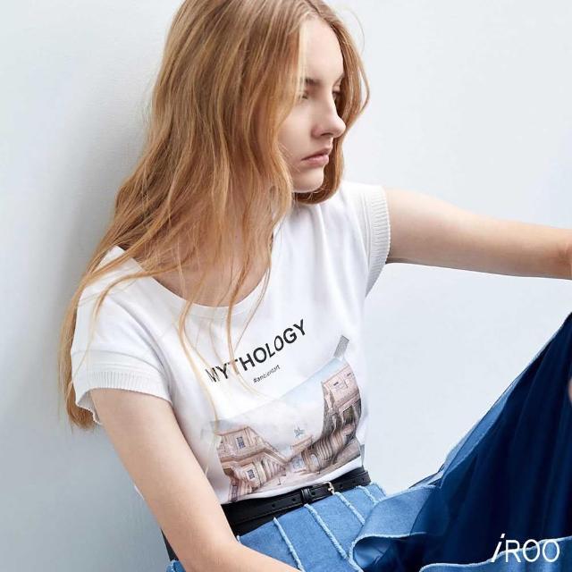【iROO】復古印花 針織T恤