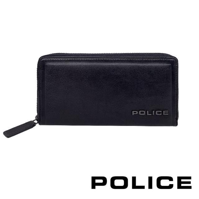 【POLICE】義大利潮牌 頂級小牛皮拉鍊長夾(復古系列)