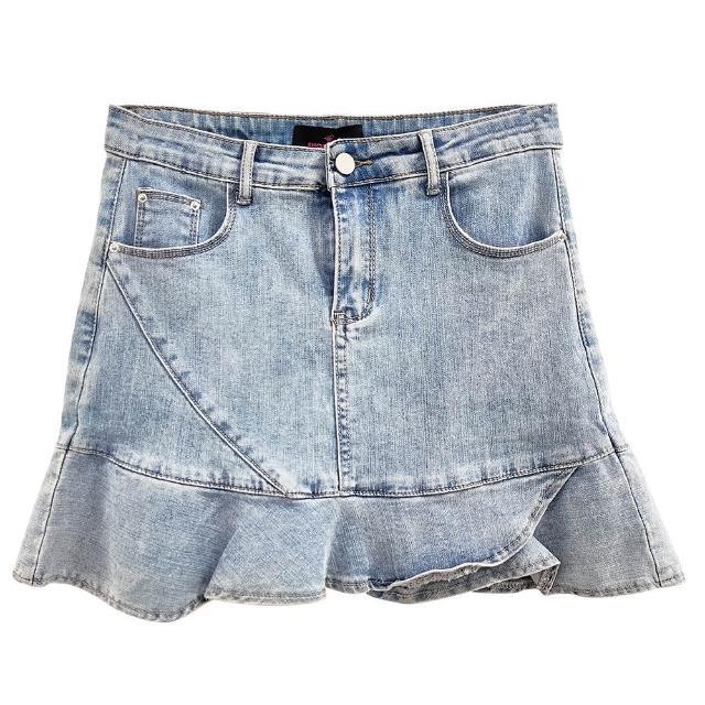 【SHOWCASE】俏麗荷葉襬拼接牛仔短窄裙(藍色)