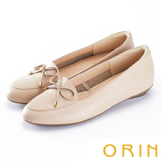 【ORIN】高優質牛皮蝴蝶結 女 平底鞋(粉色)