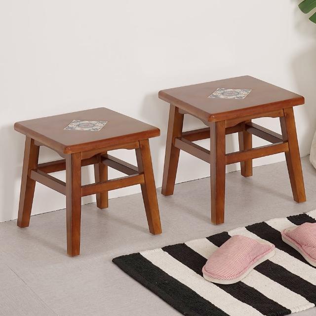 【Homelike】夏里園實木小板凳(2入組)