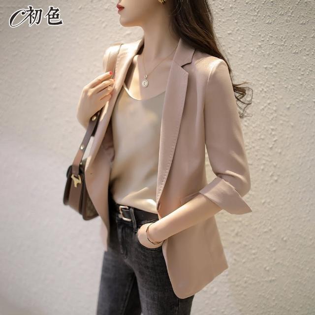 【初色】純色薄款西裝外套-共4色-99876(M-2XL可選)