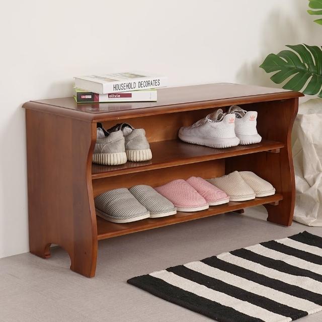 【Homelike】夏里園實木坐式鞋櫃
