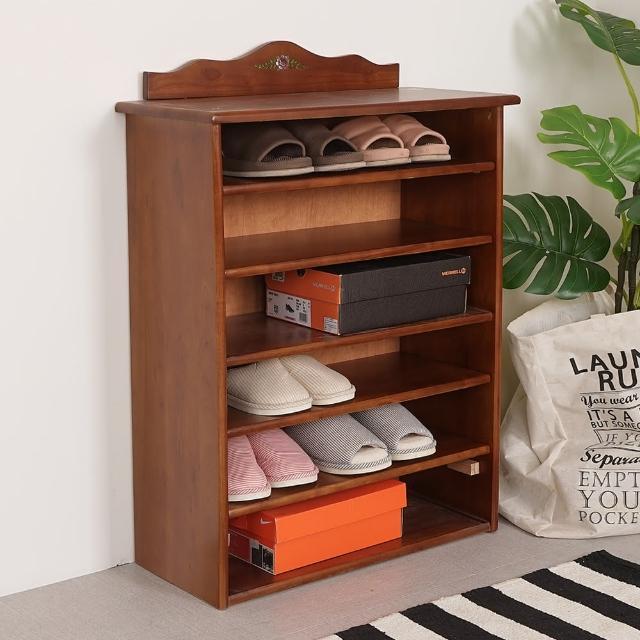 【Homelike】夏里園實木六層開放鞋櫃