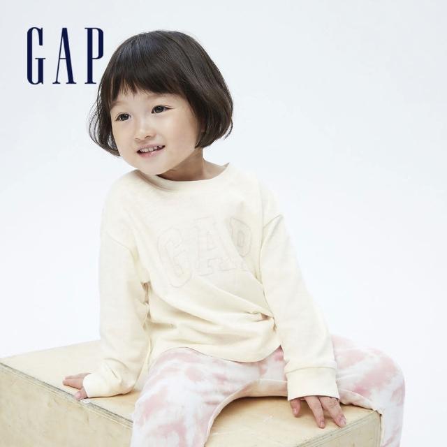 【GAP】女幼童 Logo純棉圓領長袖T恤(731856-象牙白)