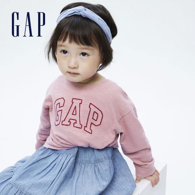 【GAP】女幼童 Logo純棉圓領長袖T恤(731856-粉色)