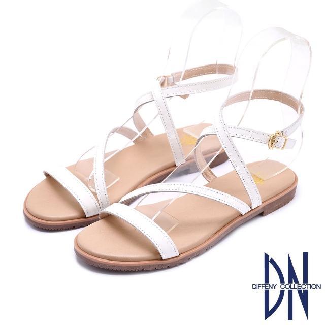 【DN】涼鞋_MIT質感真皮交叉線條平底涼鞋(白)
