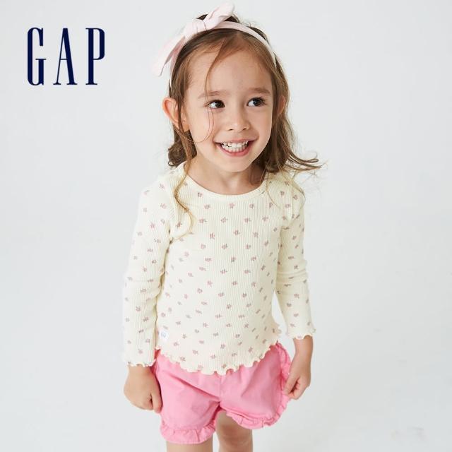 【GAP】女幼童 純棉印花華夫格長袖T恤(708835-白色)