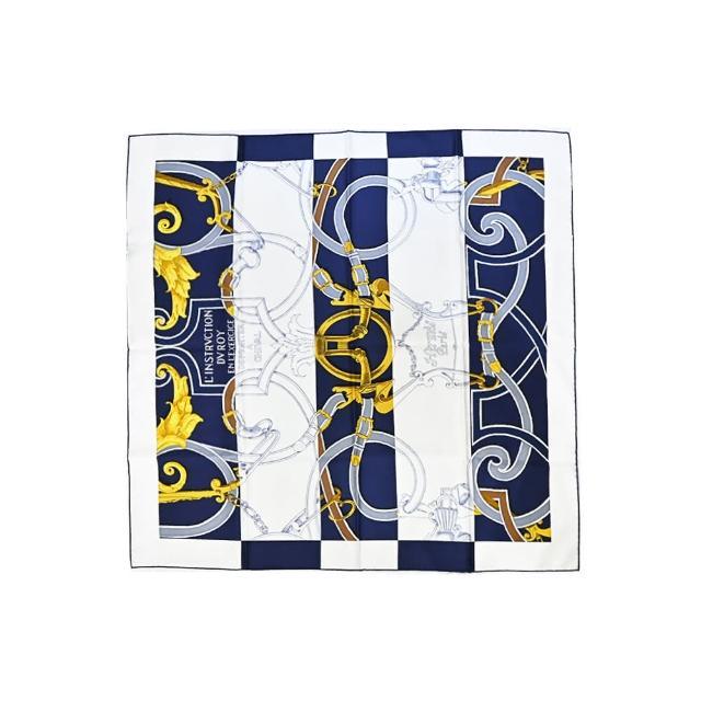 【Hermes 愛馬仕】Instruction du Roy Bayadere 環釦鍊真絲方巾(白X藍)