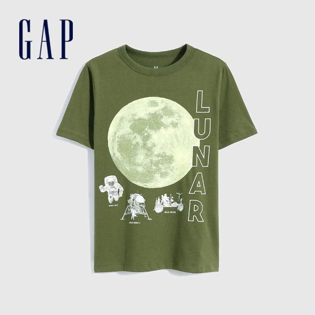 【GAP】男童 純棉創意印花短袖T恤(696619-綠色)